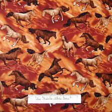 Horse Fabric - Round Up Stallion Toss Brown - Fabri-Quilt YARD