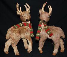 "Reindeer Statue Deer Statue New Set/2 Sisal Woodland Rustic Christmas 15"" Raz"