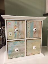 Cream Mini 4 Drawer Chest / Shabby Chic Jewellery Box Storage Chest of Drawers