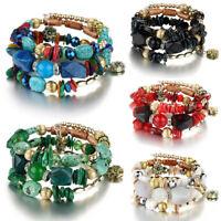 Fashion Multilayer Natural Stone Crystal Bangle Women Beaded Bracelet Jewelry