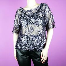 60acc18f8e VINTAGE Purple 80s 90s Floral Crop Sheer Embellished Lace Sequin Top Blouse  12