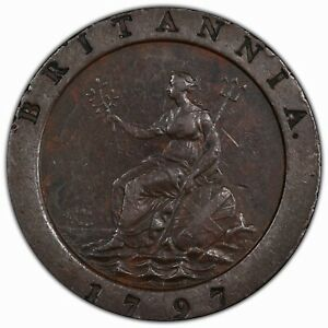GREAT BRITAIN: 1797 2 Pence PCGS XF45 ——————> PREMIUM QUALITY WITH ROTATED DIE