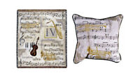 Musical Instrument Tapestry Throw Blanket Afghan and Matching Pillow, New w Tags