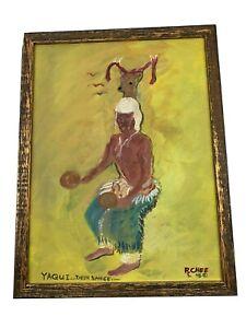 Navajo listed Ronald Chee 1961 Acrylic Painting Native American Yaqui Deer Dance