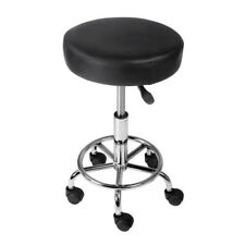 Round PU Swivel Salon Stool Black Home Office Furniture