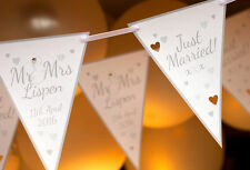 SILVER WEDDING BUNTING PERSONALISED 2M CONTEMPORARY MR AND MRS BANNERS WEDDING