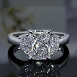 3.20 Ct 3-Stone Radiant Cut & Trapezoid Natural Diamond Engagement Ring G VS1
