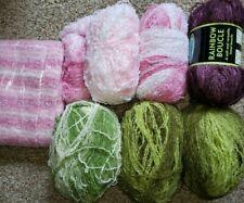 Lot of 6 + Sensations Rainbow Boucle Yarn 853yds pink green berry 6lbs