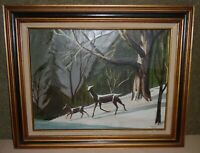 Framed Amateur Painting On Canvas - Winter Landscape w/ Deer