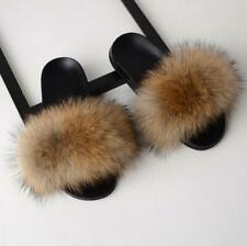 UK Sliders Women Real Fur Flat Shoes Fluffy Flip Flop Slippers Sandals Xmas Gift