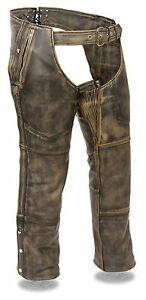 MOTORCYCLE RIDERS PANT DISTRESSED BROWN FOUR POCKET THERMAL LINED LEATHER CHAP