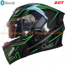 DOT Motorcycle Motor Cross Bluetooth Helmet Modular Dual Visor Flip Up Full Face