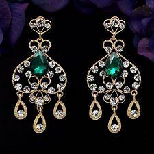 18K Gold Plated GP Green Crystal Rhinestone Chandelier Drop Dangle Earrings 8836