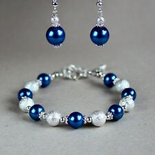 Dark blue pearls bracelet drop earrings silver wedding bridesmaid jewellery set