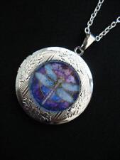 Art Deco Dragonfly  LOCKET Necklace Pendant Gothic  Silver Vintage Nouveau