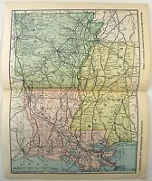 Original 1898 Dated Railroad Map of Louisiana, Mississippi & Arkansas. Antique