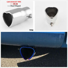 DIY Heart Shaped Silver Car 63mm Tip Exhaust Pipe Muffler Holiday Creative Gift