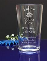 Personalised Your Name Engraved Pint Glass/ Vodka a Coke/ B-day 294