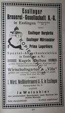 Esslinger Brauerei Gesellschaft Esslingen Werbeanzeige anno 1925 Reklame Werbung