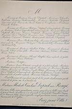 DEPRET ROUGE Catoire Bohomoletz Saglio Tresca FAIRE PART Anderlecht Allix 1892