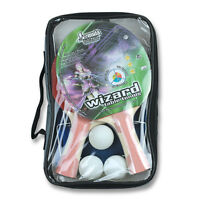 SET 2 x WIZARD Table Tennis Ping Pong Bats Includes 2 x Table Tennis Balls Case