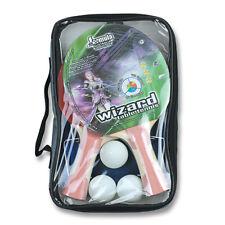 SET 2 x WIZARD Table Tennis Ping Pong Bats Includes 2 x Table Tennis Balls Case