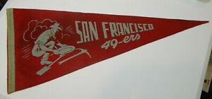 Rare Early 1950's San Francisco 49'ers Football 49er Panning Gold Logo Pennant