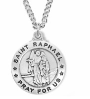 STERLING SILVER ROUND ST RAPHAEL PATRON OF DOCTORS MEDAL NECKLACE & CHAIN