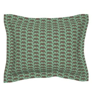 Rhinoceros Animal Safari Africa Green Brown Texture Pillow Sham by Roostery