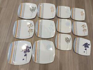 Blue & White melamine Plates. Set of 6 dinner plates,6 side plates. Party/picnic
