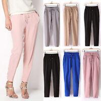 Women Solid Color Drawstring Elastic Waist Chiffon Trousers OL Work Harem Pants