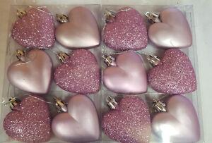 12 x Pink Glitter & Matt Heart Shaped Christmas Tree Bauble Decoration