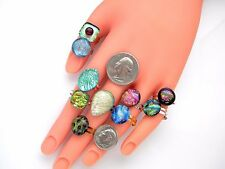 RINGS Lot 10 pcs gorgeous DICHROIC FUSED GLASS (ring5)