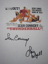 Thunderball Signed Movie Script X2 James Bond Sean Connery Lois Maxwell reprint