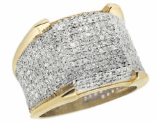1.50ct  Men's Real 10K Yellow Gold Iced Diamond 3D Eternity Pinky 4 Prong Ring