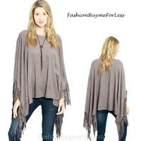 70s Hippy Gypsy Western Haute Gray Faux Suede Fringe Poncho Sweater Top S M L XL