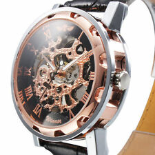 Mens Rose gold Skeleton Dial Automatic Mechanical Army Military Sport Wristwatch