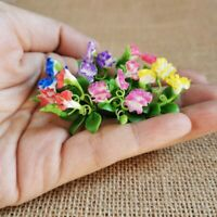 Orange Hibiscus Flowers Chinese Rose 3 Bunches Clay Flowers Miniature Dollhouse