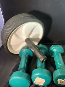 3lb Fitness Hex Vinyl Coated Hand Weights And Ab Roller
