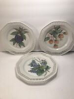 3 VINTAGE HAND PAINTED PLATES RETICULATED BORDER GERMANY ARTIST SIGNED 8 1/2''