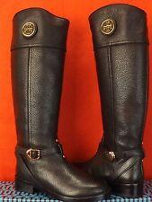 NIB TORY BURCH TERESA BLACK TUMBLED LEATHER GOLD REVA TALL RIDING BOOTS 10.5