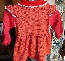 sz 4 4T Vintage Girls 70s ADORABLE RUSTY DOUBLE KNIT HEALTH TEX HIPPY DRESS USA