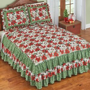 Lovely Quilted Christmas Poinsettia Floral 3-Tiered Ruffled Twin Size Bedspread