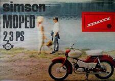 1966 DDR Prospekt SIMSON SPATZ ZWEIRAD VEB Kombinat  Suhl MOPED 2,3 ps