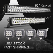 "Curved 52Inch LED Light Bar Combo + 22""  +4"" CREE PODS OFFROAD SUV 4WD FORD JEEP"