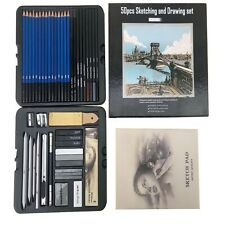 50-pcs Professional Sketching Drawing kit pastel Pencil Art Sketch Supplies Set