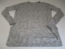 H&M PRETTY LIGHT MOTTLED GREY CREW NECK JUMPER UK 14 ULTRA FINE WITH 3/4 SLEEVES