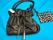 Claire's Black Purse Handbag With Silver Accents Tassels Plus Polka Dot Bag New!