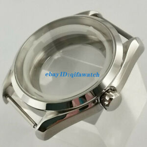 40mm sapphire glass silver stainless steel watch case fit NH35 NH36 movement
