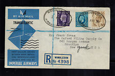 1939 Wimbledon England First Flight Cover to USA via Imperial Airways FFC